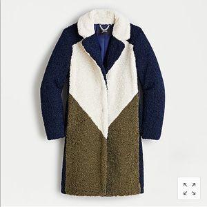 NWT J Crew colorblock Sherpa coat